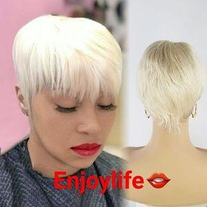 613 Human hair Pixie wig